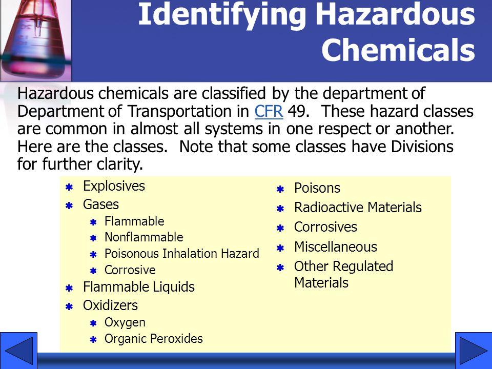 Identifying Hazardous Chemicals Explosives Gases Flammable Nonflammable Poisonous Inhalation Hazard Corrosive Flammable Liquids Oxidizers Oxygen Organ