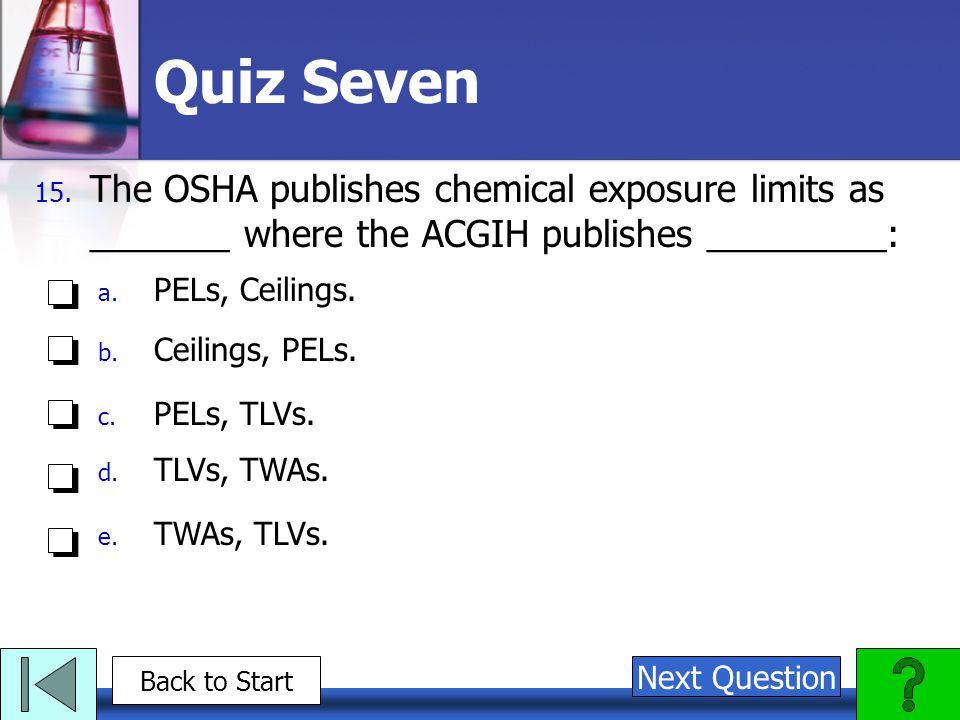 Quiz Seven 15. The OSHA publishes chemical exposure limits as _______ where the ACGIH publishes _________: a. PELs, Ceilings. b. Ceilings, PELs. c. PE