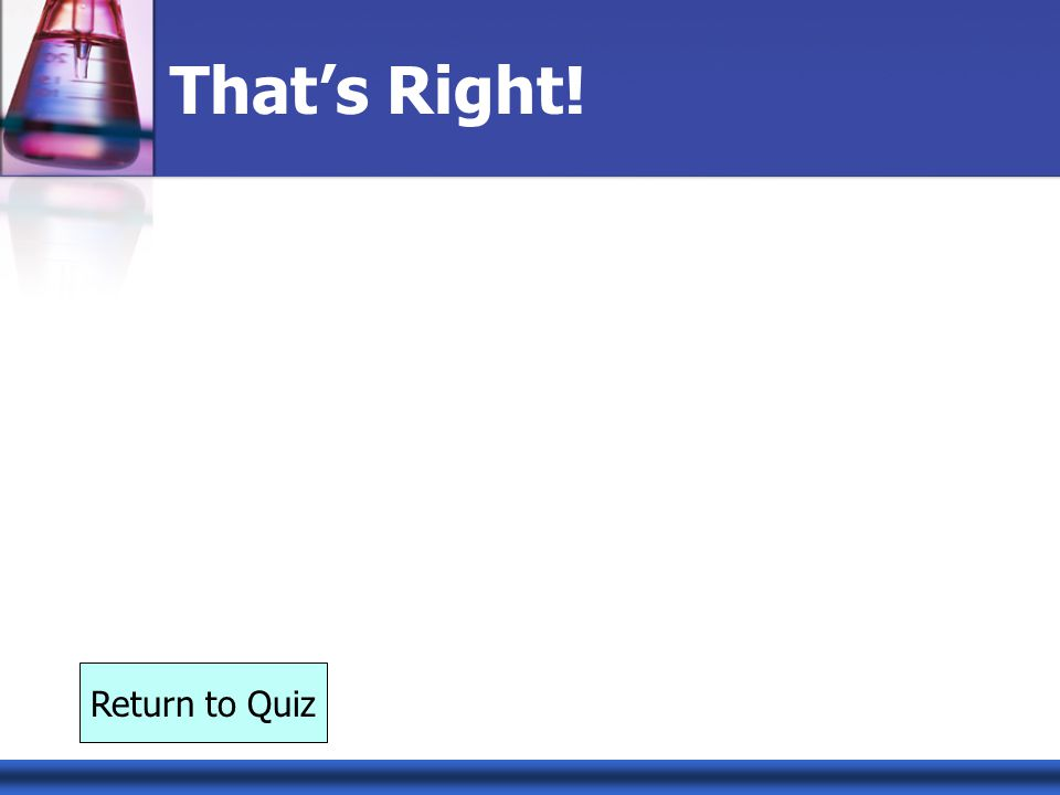 Thats Right! Return to Quiz
