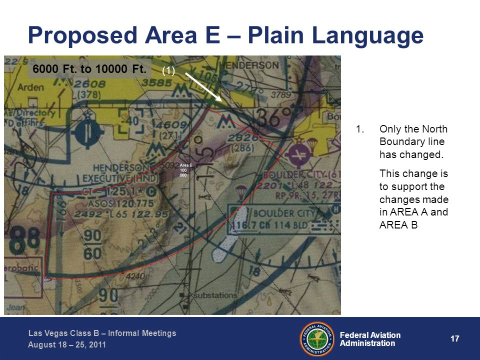 17 Federal Aviation Administration Las Vegas Class B – Informal Meetings August 18 – 25, 2011 Proposed Area E – Plain Language (1) (2) (1) (2) (1) (3) (1) 1.Only the North Boundary line has changed.