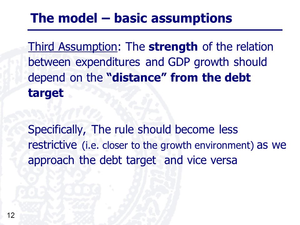 12 The model – basic assumptions Third Assumption: The strength of the relation between expenditures and GDP growth should depend on the distance from the debt target Specifically, The rule should become less restrictive (i.e.