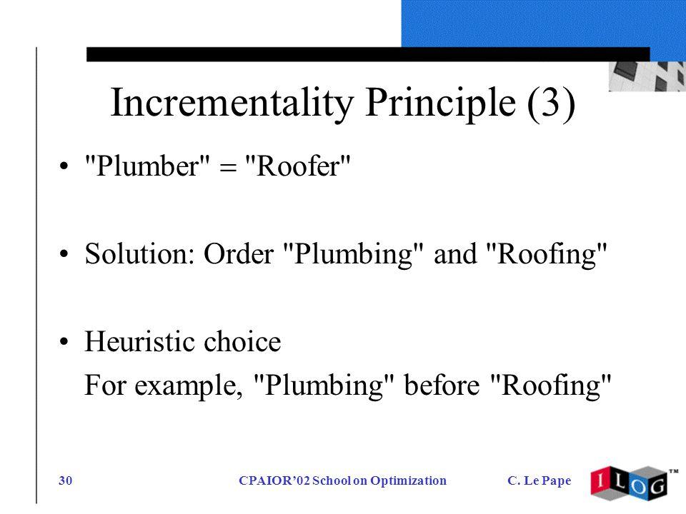 CPAIOR02 School on OptimizationC. Le Pape30 Incrementality Principle (3)