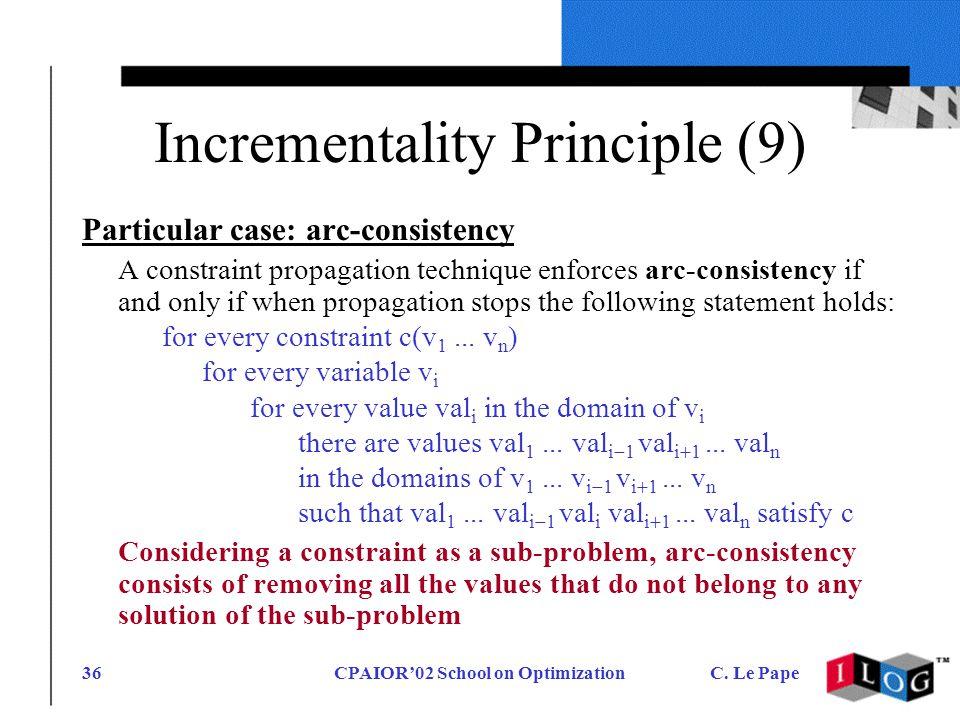 CPAIOR02 School on OptimizationC. Le Pape36 Incrementality Principle (9) Particular case: arc-consistency A constraint propagation technique enforces