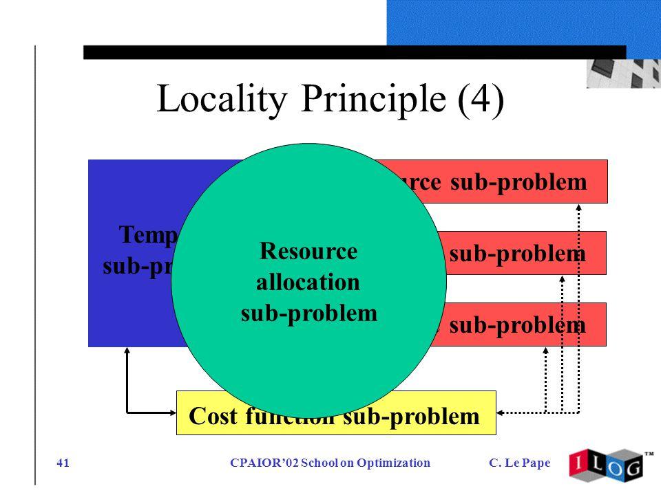 CPAIOR02 School on OptimizationC. Le Pape41 Locality Principle (4) Resource sub-problem Temporal sub-problem Cost function sub-problem Resource alloca