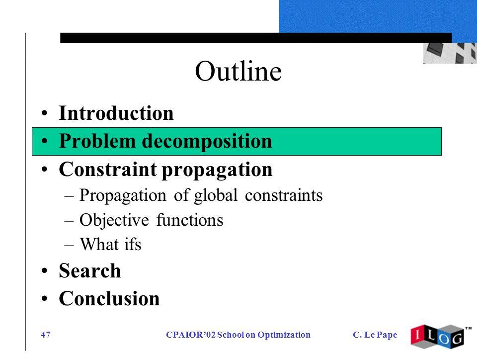 CPAIOR02 School on OptimizationC. Le Pape47 Outline Introduction Problem decomposition Constraint propagation –Propagation of global constraints –Obje