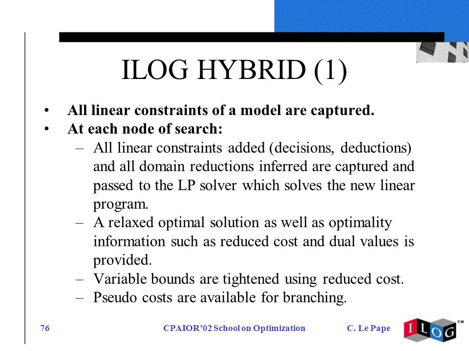 CPAIOR02 School on OptimizationC. Le Pape76 ILOG HYBRID (1) All linear constraints of a model are captured. At each node of search: –All linear constr