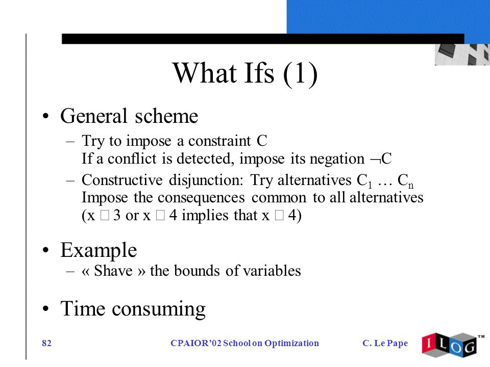 CPAIOR02 School on OptimizationC. Le Pape82 What Ifs (1) General scheme –Try to impose a constraint C If a conflict is detected, impose its negation C