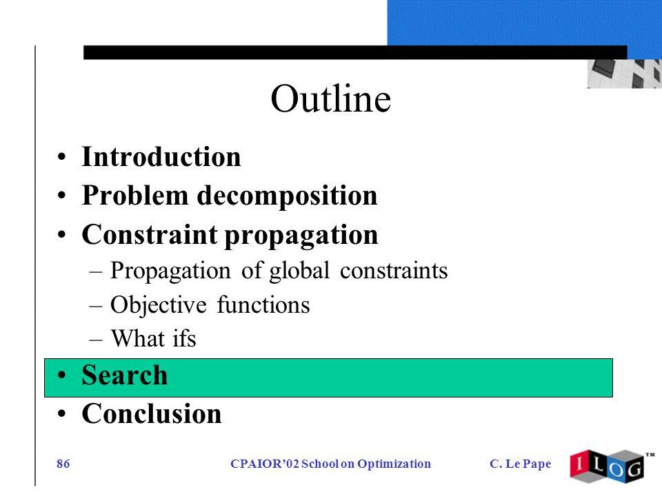CPAIOR02 School on OptimizationC. Le Pape86 Outline Introduction Problem decomposition Constraint propagation –Propagation of global constraints –Obje