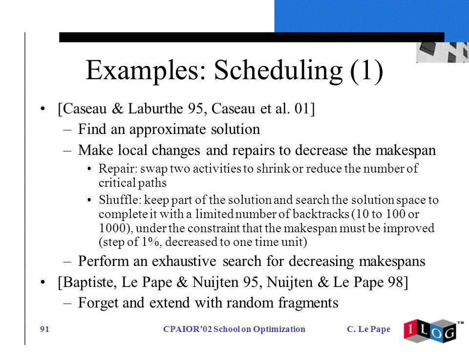 CPAIOR02 School on OptimizationC. Le Pape91 Examples: Scheduling (1) [Caseau & Laburthe 95, Caseau et al. 01] –Find an approximate solution –Make loca