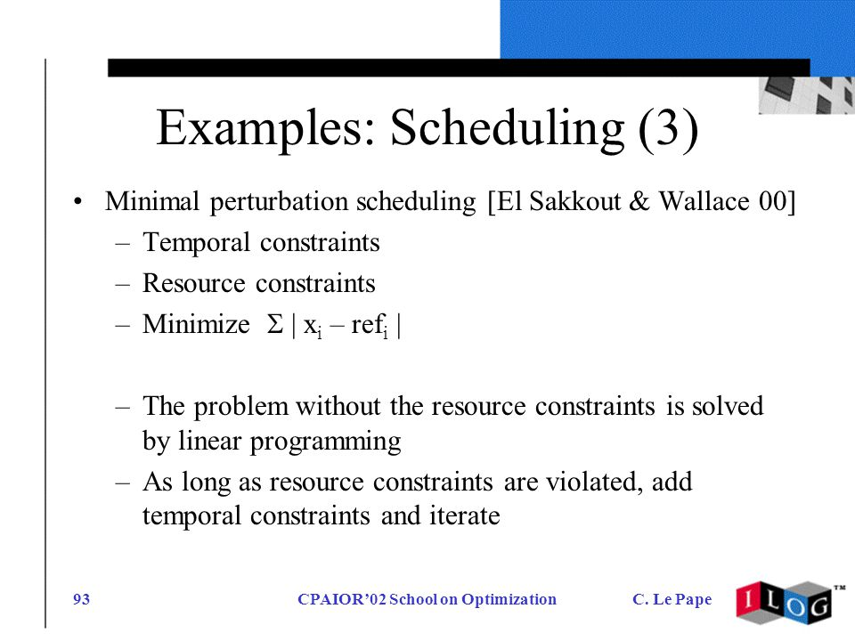 CPAIOR02 School on OptimizationC. Le Pape93 Examples: Scheduling (3) Minimal perturbation scheduling [El Sakkout & Wallace 00] –Temporal constraints –