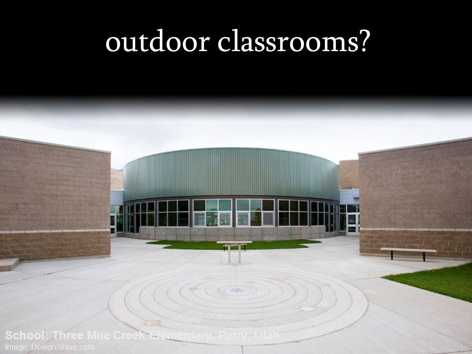 outdoor classrooms? School: Three Mile Creek Elementary, Perry, Utah Image: DesignShare.com