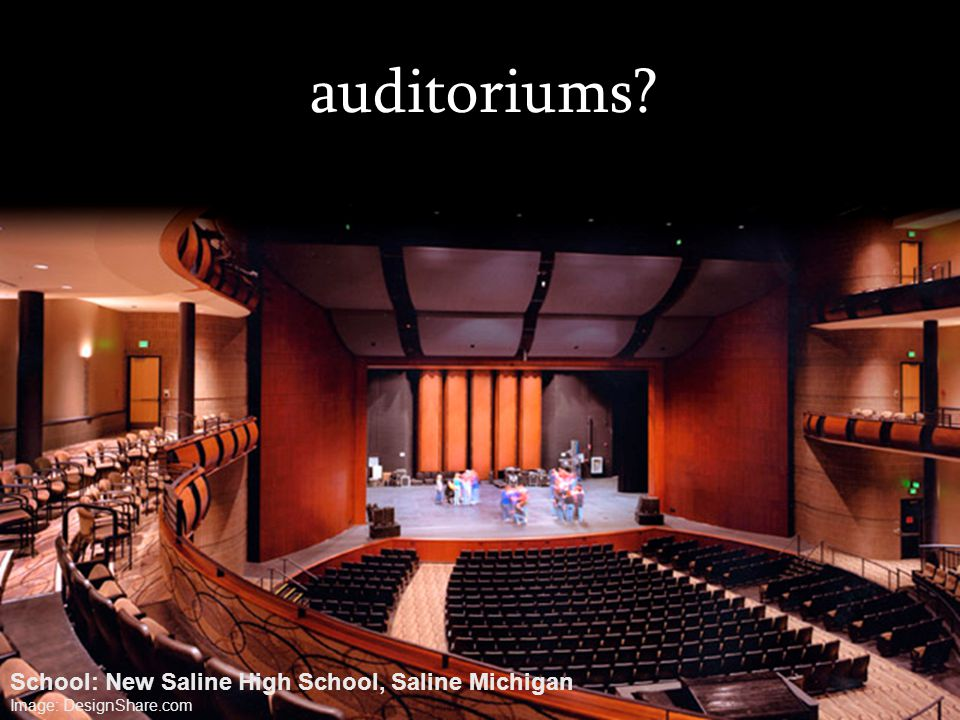 auditoriums? School: New Saline High School, Saline Michigan Image: DesignShare.com