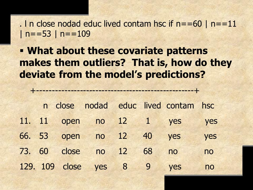 . l n close nodad educ lived contam hsc if n==60 | n==11 | n==53 | n==109 What about these covariate patterns makes them outliers? That is, how do the