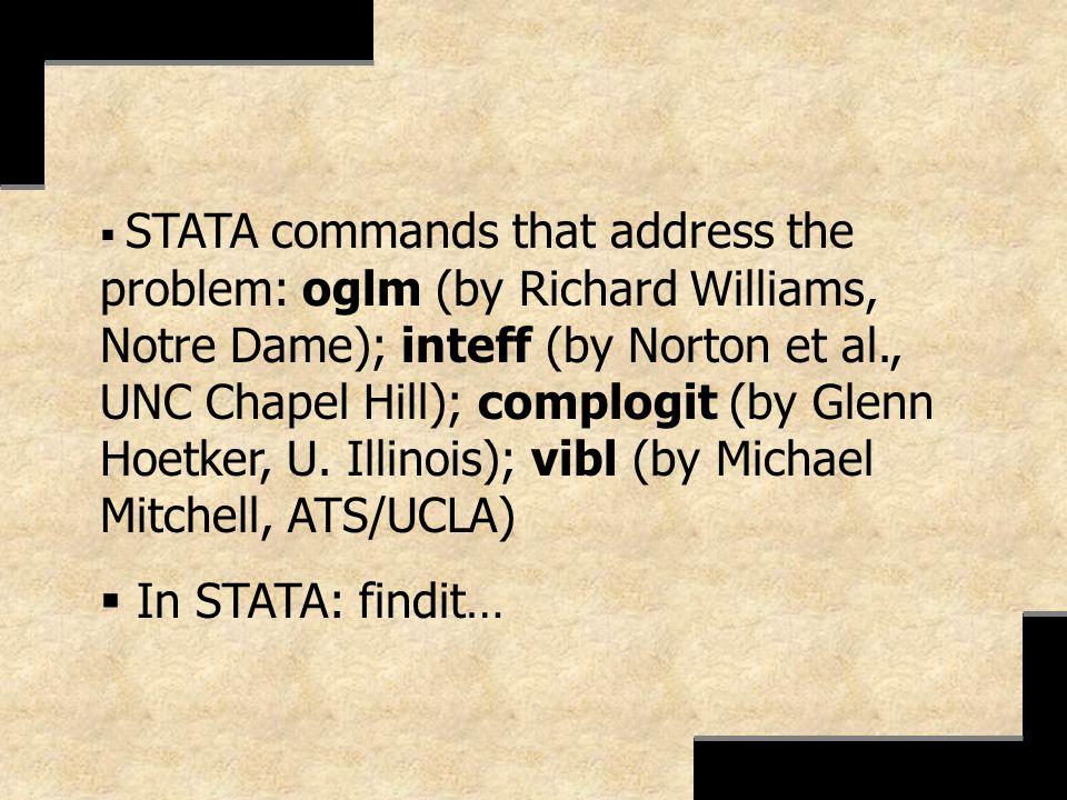 STATA commands that address the problem: oglm (by Richard Williams, Notre Dame); inteff (by Norton et al., UNC Chapel Hill); complogit (by Glenn Hoetk
