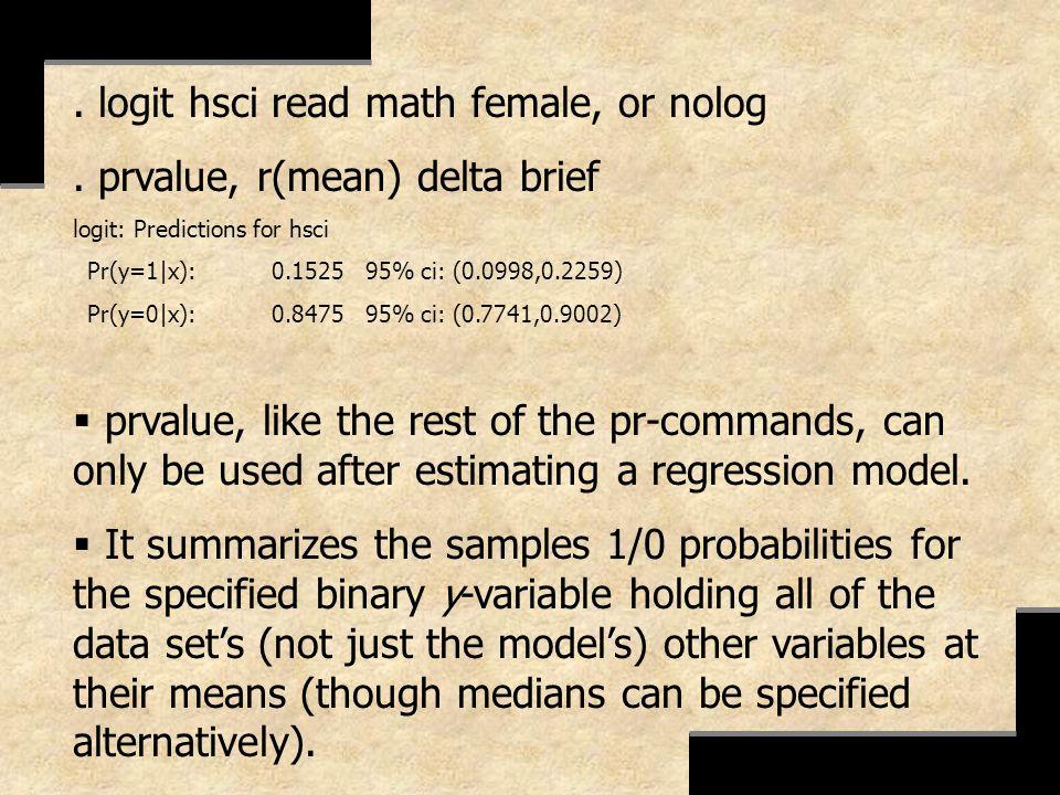 . logit hsci read math female, or nolog. prvalue, r(mean) delta brief logit: Predictions for hsci Pr(y=1|x): 0.1525 95% ci: (0.0998,0.2259) Pr(y=0|x):
