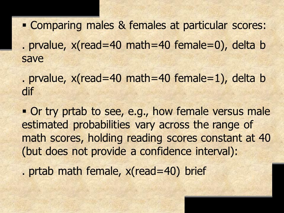 Comparing males & females at particular scores:. prvalue, x(read=40 math=40 female=0), delta b save. prvalue, x(read=40 math=40 female=1), delta b dif
