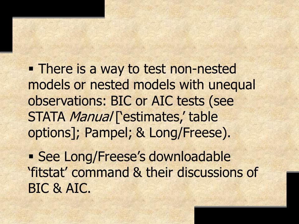 There is a way to test non-nested models or nested models with unequal observations: BIC or AIC tests (see STATA Manual [estimates, table options]; Pa