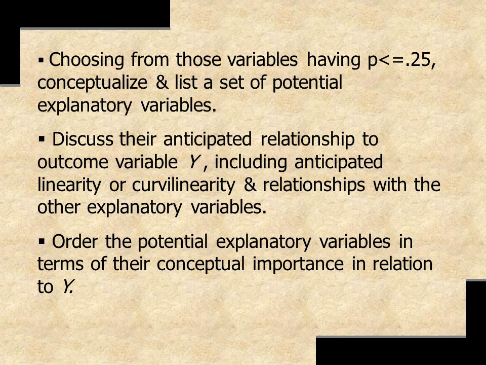 Choosing from those variables having p<=.25, conceptualize & list a set of potential explanatory variables. Discuss their anticipated relationship to