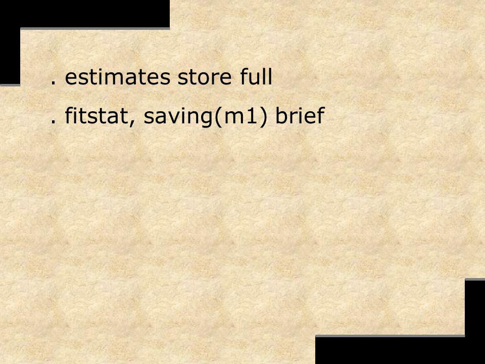 . estimates store full. fitstat, saving(m1) brief