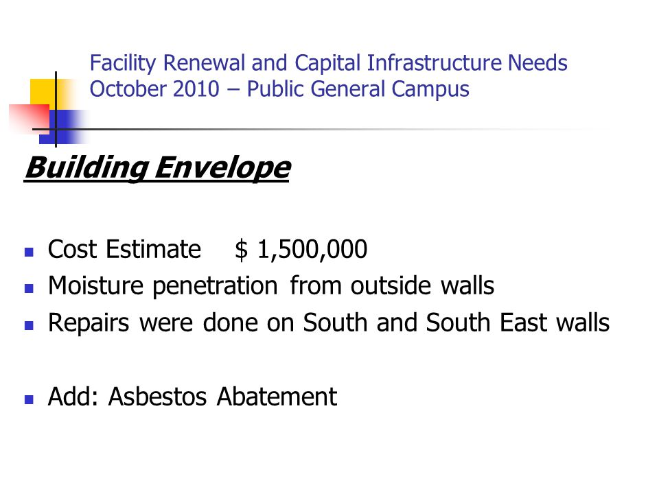 Facility Renewal and Capital Infrastructure Needs October 2010 – Public General Campus Building Envelope Cost Estimate $ 1,500,000 Moisture penetration from outside walls Repairs were done on South and South East walls Add: Asbestos Abatement