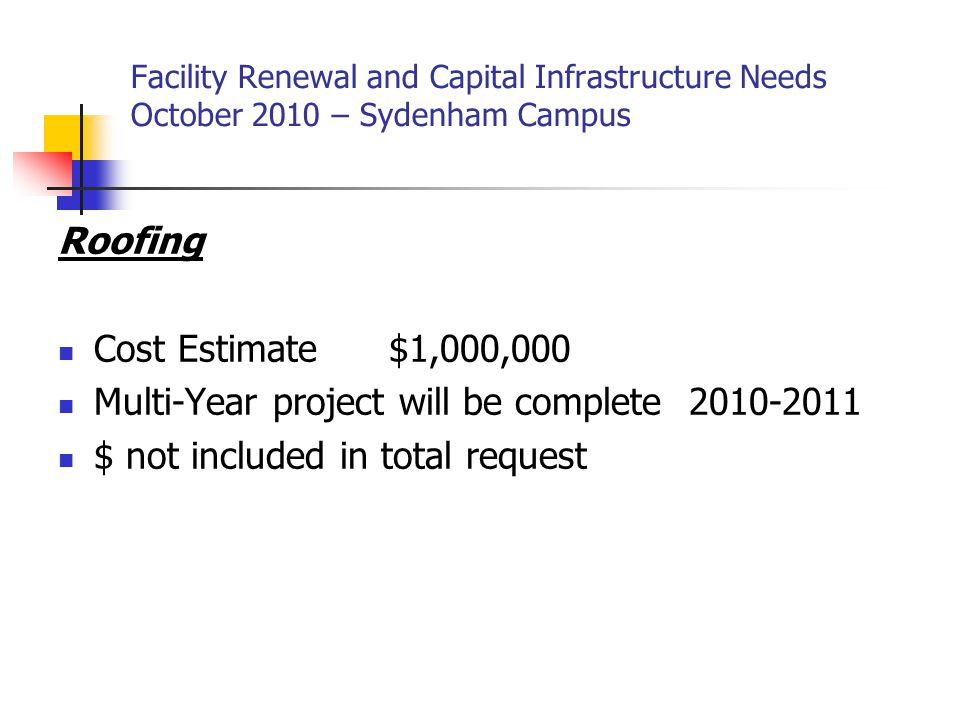 Roofing Cost Estimate $1,000,000 Multi-Year project will be complete 2010-2011 $ not included in total request