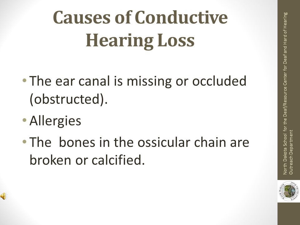 Conductive Hearing Loss An obstruction in the outer and/or middle ear blocks the transmission of sound.