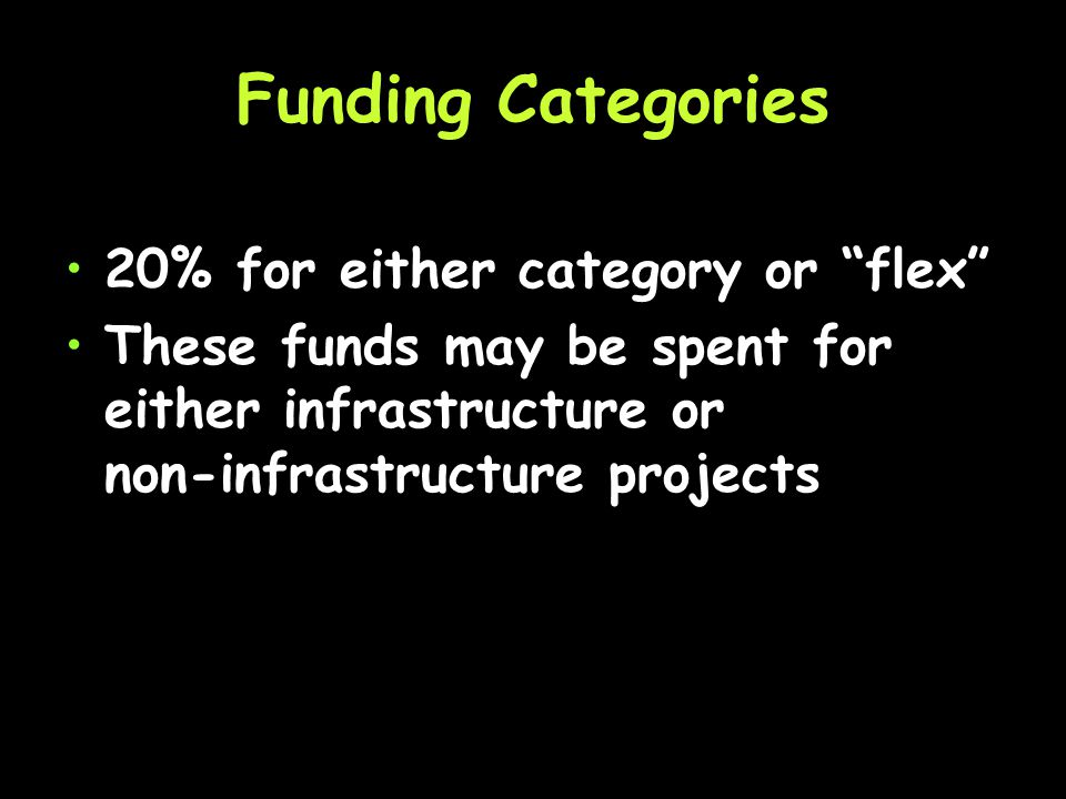 10% non-infrastructure Projects focused on; education, enforcement, and encouragement.