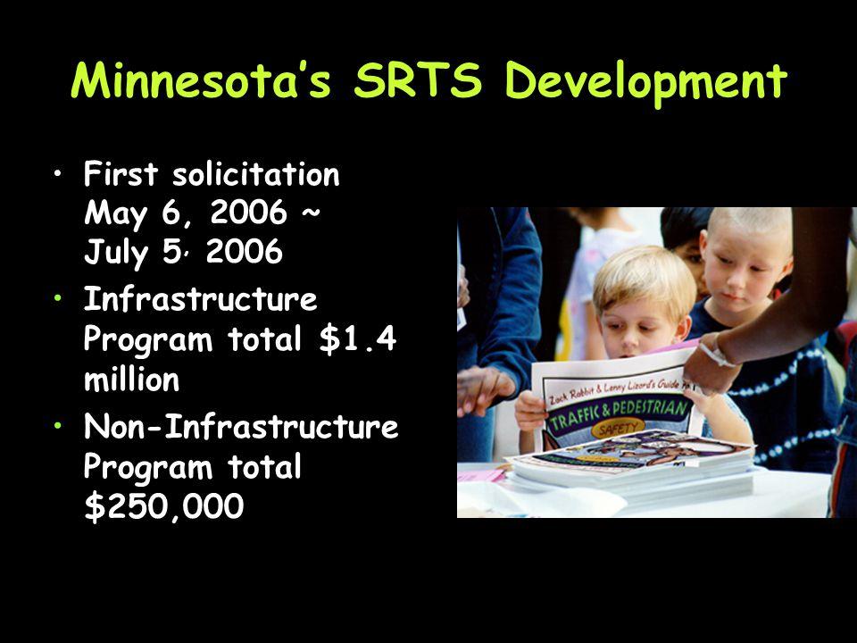 Minnesotas SRTS Development Federal Guidance received Jan. 2006 Application development Jan.–Apr. 2006