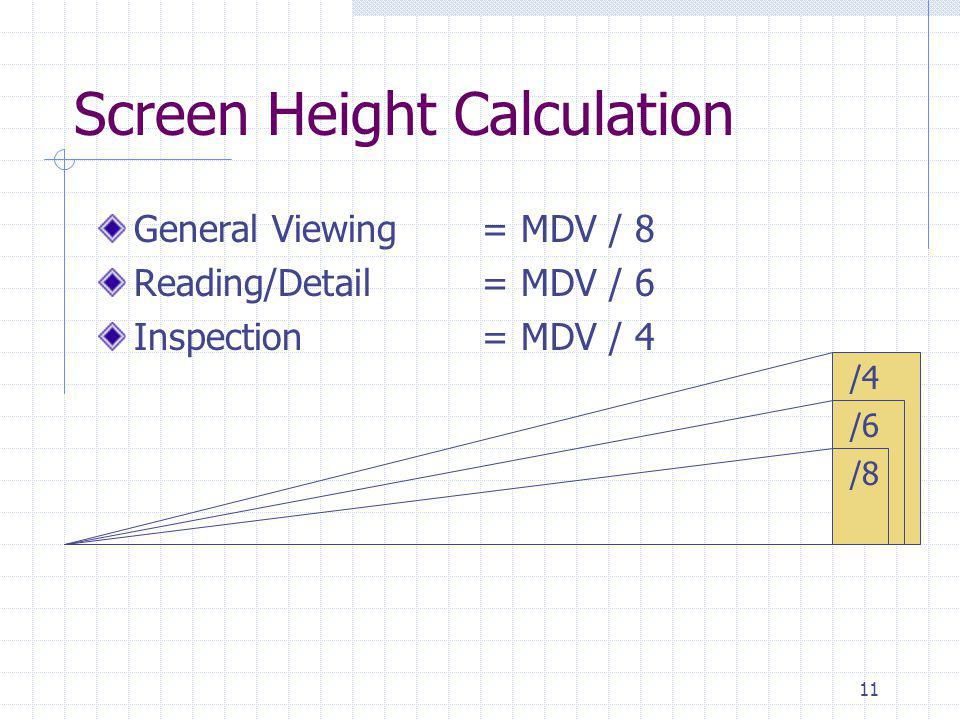 11 Screen Height Calculation General Viewing= MDV / 8 Reading/Detail= MDV / 6 Inspection= MDV / 4 /4 /6 /8