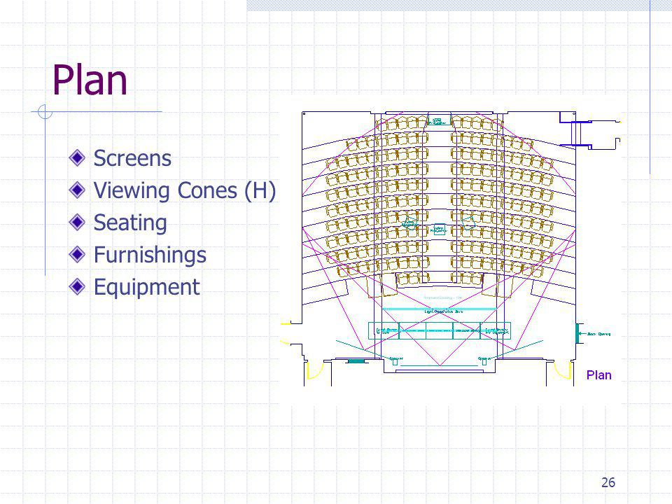 26 Plan Screens Viewing Cones (H) Seating Furnishings Equipment