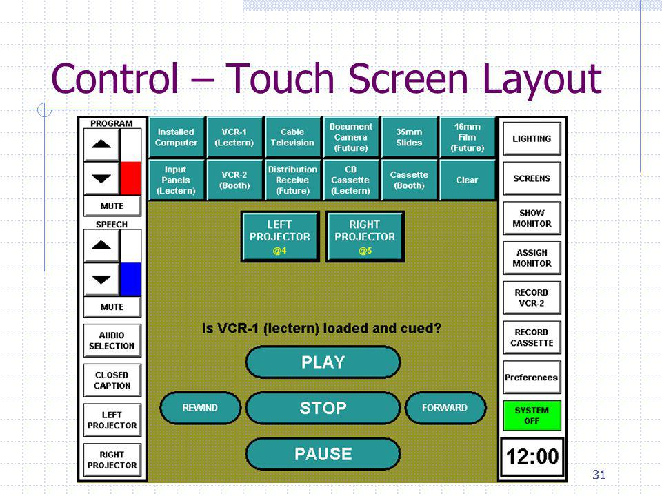 31 Control – Touch Screen Layout