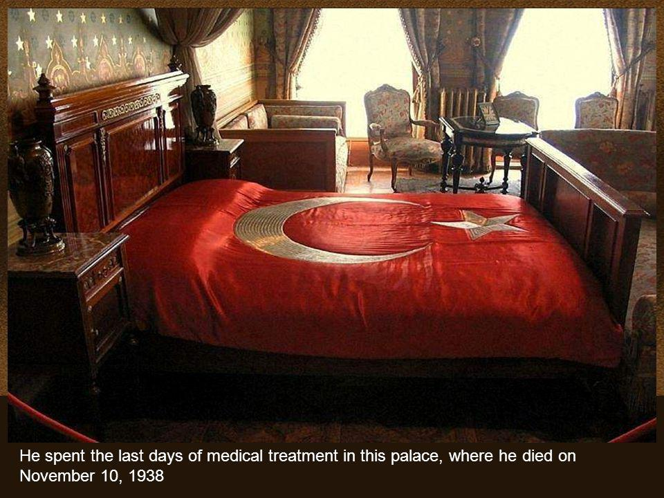 Mustafa Kemal Atatürk, the founder and first President of the Republic of Turkey, used the palace as presidential residence during the summers, where