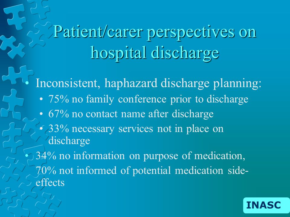 INASC Patient/carer perspectives on hospital discharge Inconsistent, haphazard discharge planning: 75% no family conference prior to discharge 67% no contact name after discharge 33% necessary services not in place on discharge 34% no information on purpose of medication, 70% not informed of potential medication side- effects