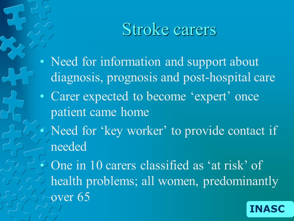 INASC Stroke carers Need for information and support about diagnosis, prognosis and post-hospital care Carer expected to become expert once patient came home Need for key worker to provide contact if needed One in 10 carers classified as at risk of health problems; all women, predominantly over 65
