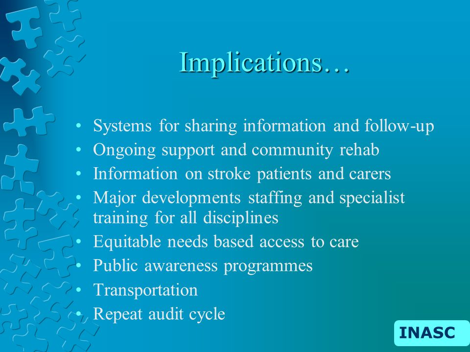INASC Implications… Systems for sharing information and follow-up Ongoing support and community rehab Information on stroke patients and carers Major developments staffing and specialist training for all disciplines Equitable needs based access to care Public awareness programmes Transportation Repeat audit cycle