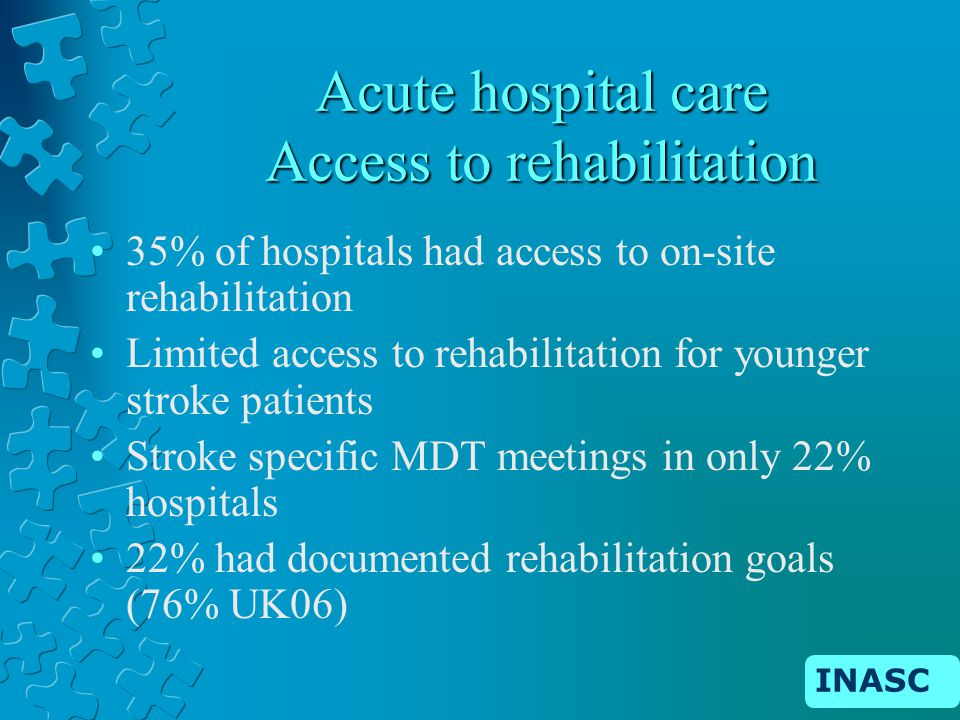 INASC Acute hospital care Access to rehabilitation 35% of hospitals had access to on-site rehabilitation Limited access to rehabilitation for younger stroke patients Stroke specific MDT meetings in only 22% hospitals 22% had documented rehabilitation goals (76% UK06)