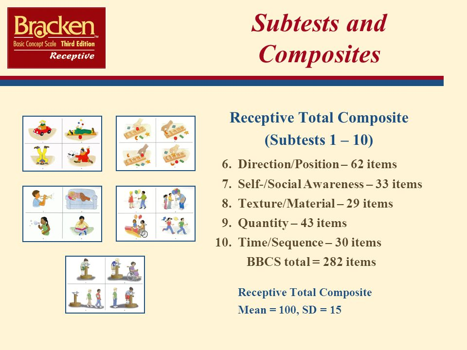 Subtests and Composites Receptive Total Composite (Subtests 1 – 10) 6.Direction/Position – 62 items 7.Self-/Social Awareness – 33 items 8.Texture/Material – 29 items 9.Quantity – 43 items 10.Time/Sequence – 30 items BBCS total = 282 items Receptive Total Composite Mean = 100, SD = 15