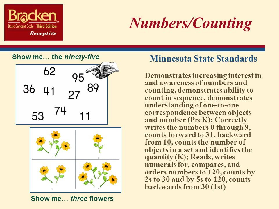 Numbers/Counting Minnesota State Standards Demonstrates increasing interest in and awareness of numbers and counting, demonstrates ability to count in sequence, demonstrates understanding of one-to-one correspondence between objects and number (PreK); Correctly writes the numbers 0 through 9, counts forward to 31, backward from 10, counts the number of objects in a set and identifies the quantity (K); Reads, writes numerals for, compares, and orders numbers to 120, counts by 2s to 30 and by 5s to 120, counts backwards from 30 (1st) Show me… the ninety-five Show me… three flowers