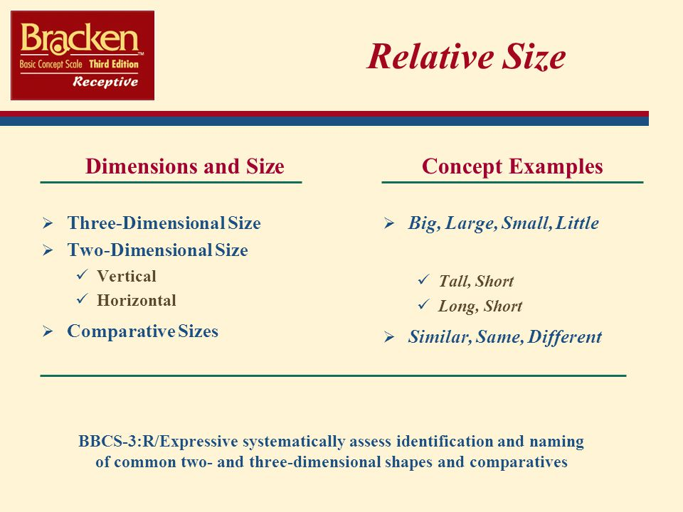 Relative Size Dimensions and Size Three-Dimensional Size Two-Dimensional Size Vertical Horizontal Comparative Sizes Concept Examples Big, Large, Small, Little Tall, Short Long, Short Similar, Same, Different BBCS-3:R/Expressive systematically assess identification and naming of common two- and three-dimensional shapes and comparatives