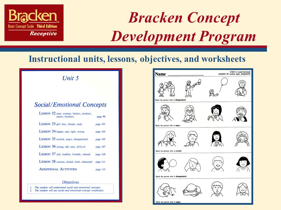 Bracken Concept Development Program Instructional units, lessons, objectives, and worksheets