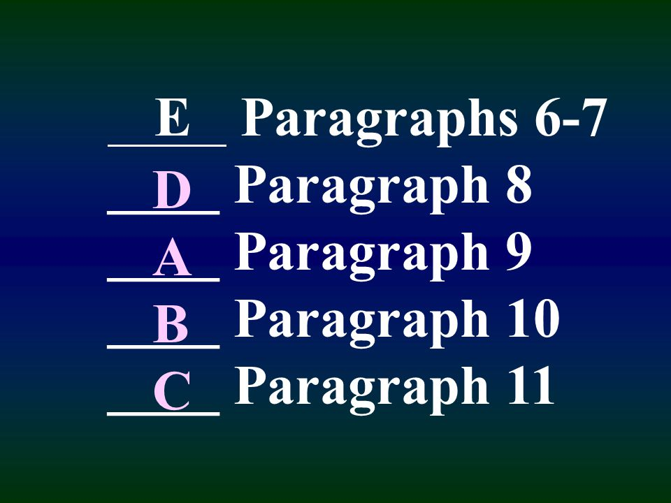 Exercise: Skim the reading. Match each paragraph on the next page with its main idea. The first one has been done for you. Paragraph 11(E) As long as
