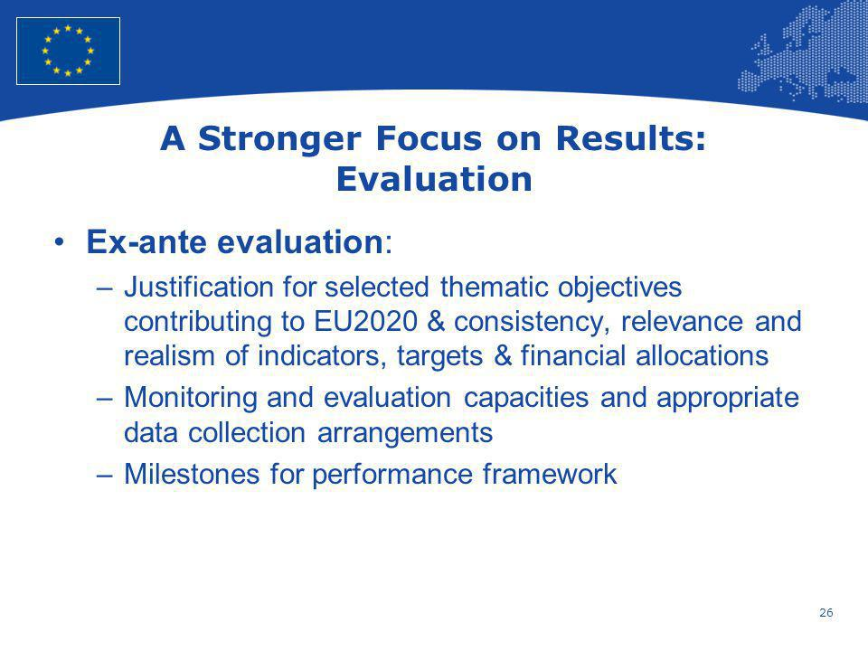 26 European Union Regional Policy – Employment, Social Affairs and Inclusion A Stronger Focus on Results: Evaluation Ex-ante evaluation: –Justificatio