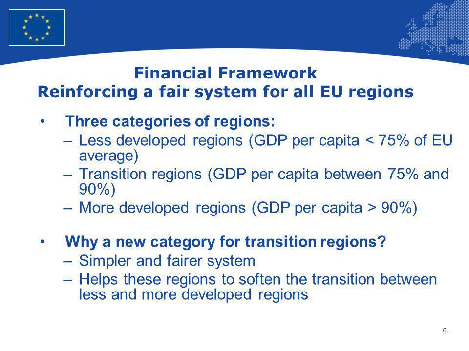6 European Union Regional Policy – Employment, Social Affairs and Inclusion Financial Framework Reinforcing a fair system for all EU regions Three cat