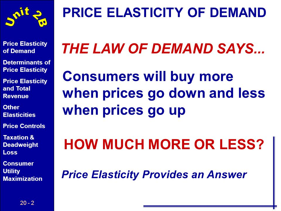 20 - 12 Price Elasticity of Demand Determinants of Price Elasticity Price Elasticity and Total Revenue Other Elasticities Price Controls Taxation & Deadweight Loss Consumer Utility Maximization Total Revenue Total Revenue (TR): The total dollars received by a firm for selling a product.
