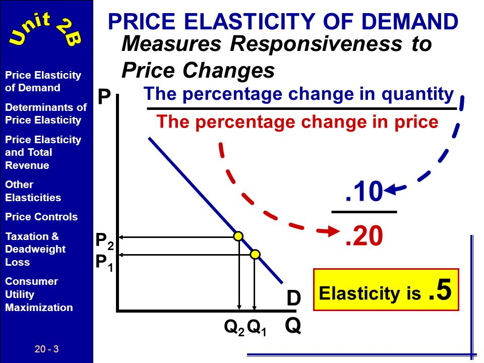 20 - 53 Price Elasticity of Demand Determinants of Price Elasticity Price Elasticity and Total Revenue Other Elasticities Price Controls Taxation & Deadweight Loss Consumer Utility Maximization Taxation & Deadweight Loss