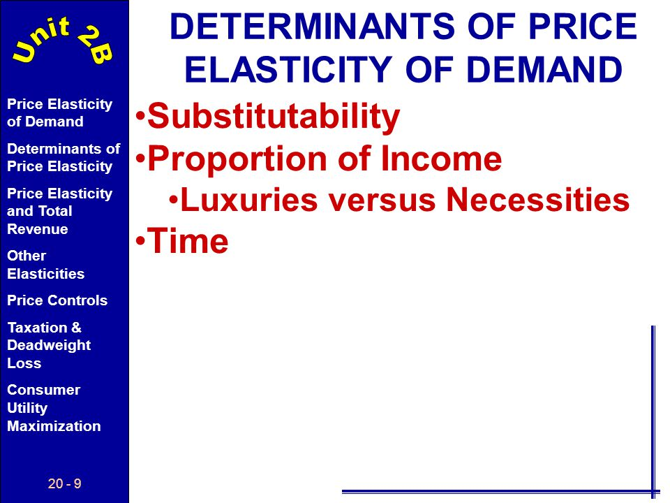 20 - 29 Price Elasticity of Demand Determinants of Price Elasticity Price Elasticity and Total Revenue Other Elasticities Price Controls Taxation & Deadweight Loss Consumer Utility Maximization PoPo P Q D1D1 QoQo Long Run PRICE ELASTICITY OF SUPPLY An increase in demand in the long run allows greater change causing...