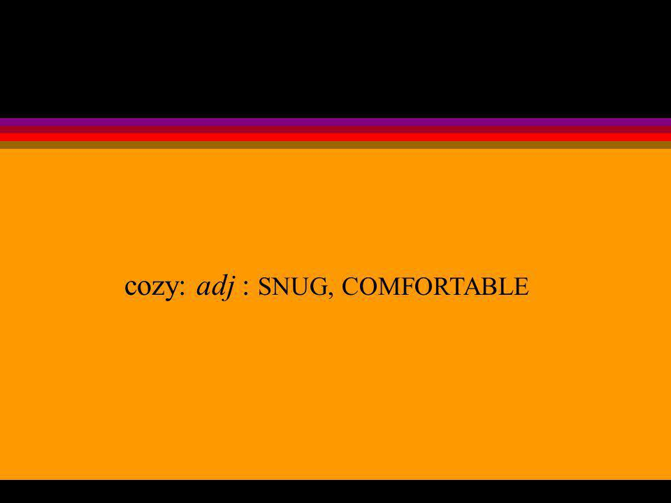 cozy: adj : SNUG, COMFORTABLE
