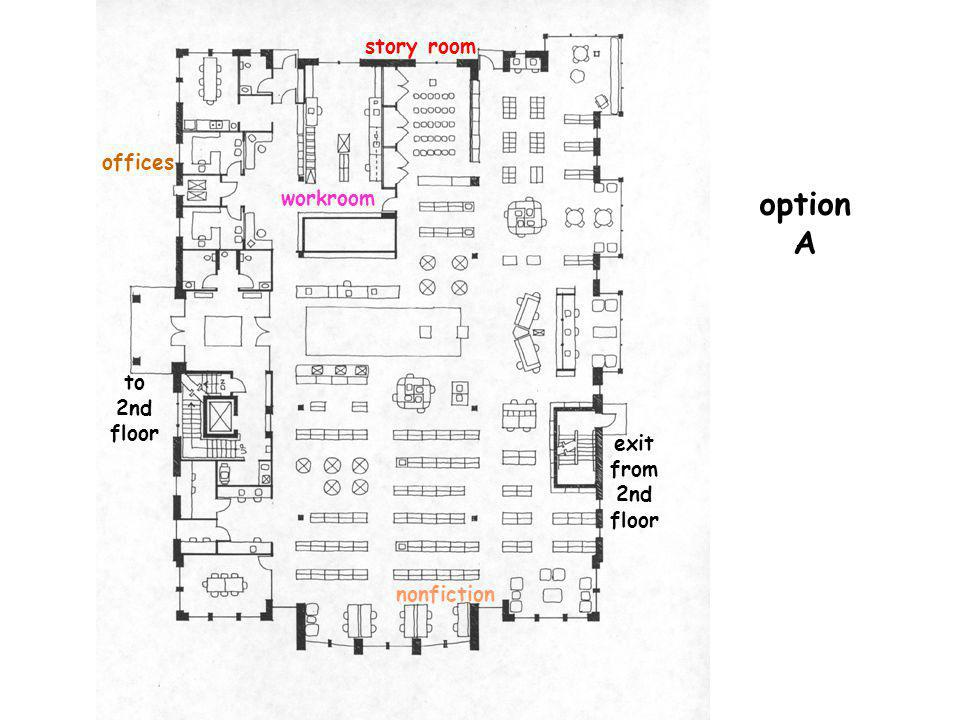 option A story room offices workroom to 2nd floor exit from 2nd floor nonfiction