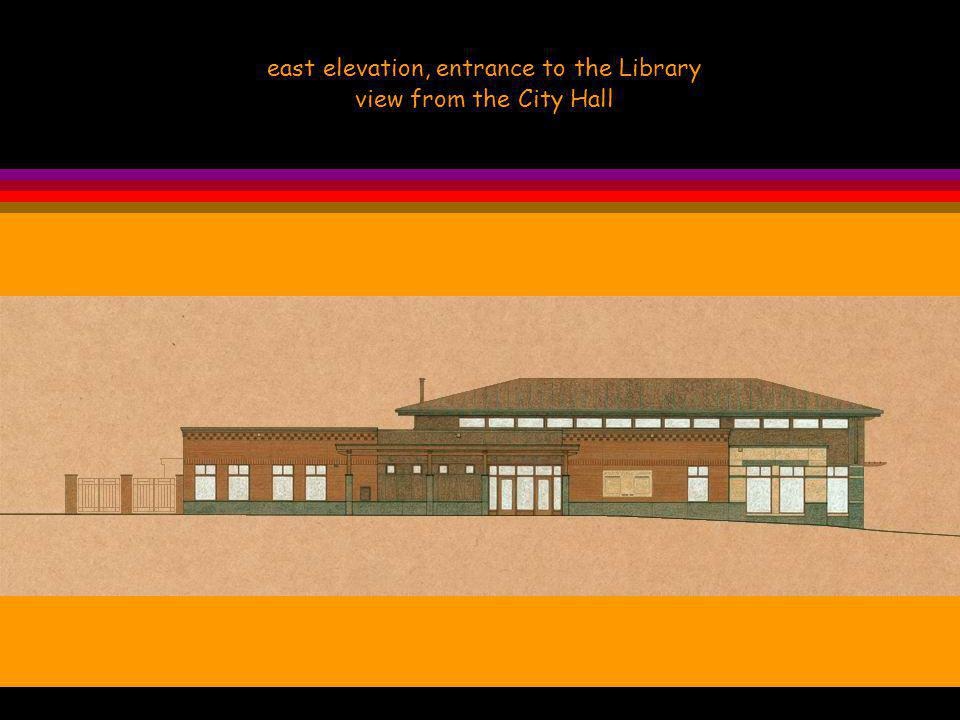 east elevation, entrance to the Library view from the City Hall