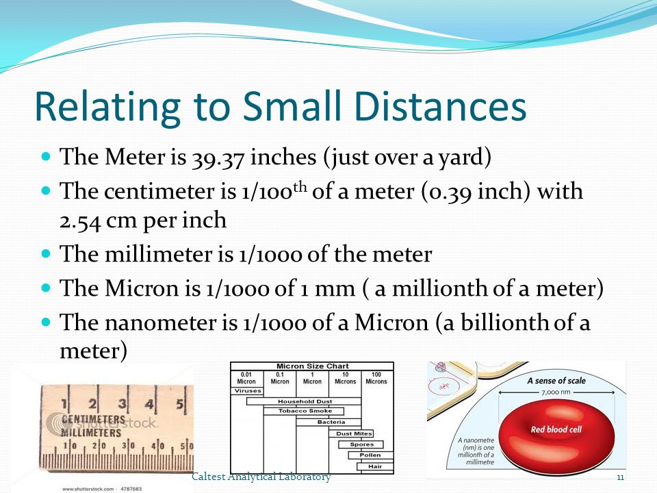 Relating to Small Distances The Meter is 39.37 inches (just over a yard) The centimeter is 1/100 th of a meter (0.39 inch) with 2.54 cm per inch The millimeter is 1/1000 of the meter The Micron is 1/1000 of 1 mm ( a millionth of a meter) The nanometer is 1/1000 of a Micron (a billionth of a meter) 11Caltest Analytical Laboratory
